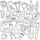 Drink concept. Doodle illustration vector in black of various beverages, containers and words related to drinking, isolated on a white background Royalty Free Stock Photos