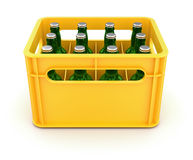 Drink crate with beer bottles. 3D illustration Stock Photography