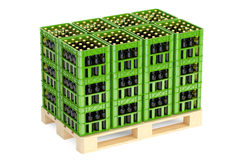 Drink crates with beer bottles on the wooden pallet, 3D renderin Stock Photo