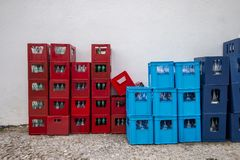 Drink Crates Near A White Wall Royalty Free Stock Photos