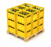 Drink crates on the wooden pallet Royalty Free Stock Photos