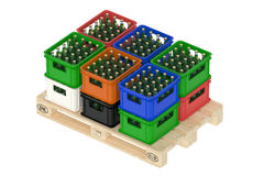 Drink crates on the wooden pallet Royalty Free Stock Image
