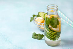 Drink with cucumber, lemon Royalty Free Stock Image