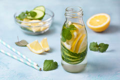Drink with cucumber, lemon Stock Images