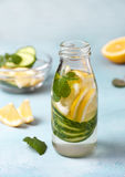 Drink with cucumber, lemon Royalty Free Stock Photo