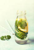 Drink with cucumber, lemon. Toning Stock Photos