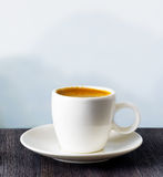 Cup of coffee on highlands background Royalty Free Stock Photo