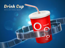 Drink cup movie cinema object. Drink cup cinema movie theater object on bokeh background Royalty Free Stock Photography