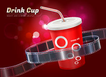 Drink cup movie cinema object vector illustration. Drink cup cinema movie theater object on bokeh background vector illustration Royalty Free Stock Photo