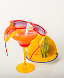 Drink decorated with fruit, margarita glass, drink staw and ice Stock Photos