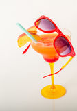 Drink decorated with fruit, margarita glass, drink staw and ice Stock Photography