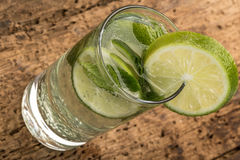 Drink decorated with lime and mint leaves Royalty Free Stock Photos