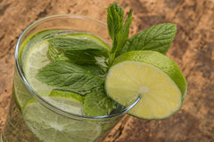 Drink decorated with lime and mint leaves Royalty Free Stock Images