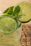 Drink decorated with sliced lime and mint Stock Images