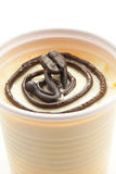 Drink with dessert. Plastic cup containing a dessert of coffee and chocolate Stock Photography