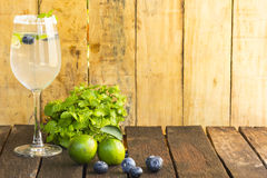 Drink Detoxification,blueberry and lemonade water.Fruit and health.Close up.1 Royalty Free Stock Image