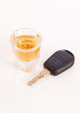 Drink And Drive. Shot of Whiskey and Car Key ( Drunk Driving Concept Royalty Free Stock Images