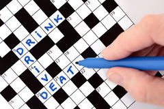 Drink Drive Death Crossword Stock Photo
