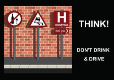 Drink and Drive Message. Three road signs portraying do not drink and drive message Vector Illustration