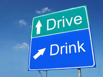 Drink-Drive road sign. Against sky Stock Photo