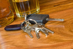 Drink driving. A image of alcoholic drinks with a set of car keys Royalty Free Stock Photography