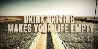Drink driving. 3d illustration of an advertise sign in a desert road Stock Photos