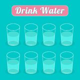 Drink eight glasses of water. Infographic. Flat Royalty Free Stock Image