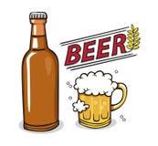 Drink för ölflaskaexponeringsglas Vektor Illustrationer