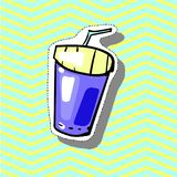 Drink fast food Fashion patch badge pin sticker pop art style illustration. Fashion patch badge pin sticker pop art style illustration Royalty Free Stock Image