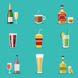 Drink flat icons. Alcohol and beer, wine bottles. Cocktail and champagne, wineglass and tequila, coffee mug, cognac and juice. Vector illustration Stock Images