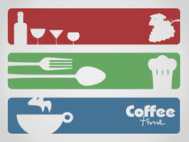 Drink, food and coffee. Food drink and coffee menu for restaurants Stock Image