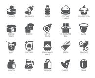 Drink and food glyph icons. 20 flat labels isolated. Dairy, sweets and other meal logos. Culinary and gastronomy concept. Drink and food glyph icons. 20 black Royalty Free Illustration