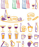 Drink & Food icons. Some icons about drink, bottle and some food Stock Photos