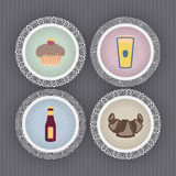 Drink & Food. Icons set, from left to right, top to bottom Stock Photo