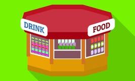 Drink food kiosk icon, flat style royalty free illustration