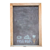 drink  and food menu and free wifi symbol written on blackboard Royalty Free Stock Photography