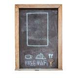 drink  and food menu and free wifi symbol written on blackboard Stock Photo