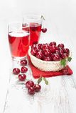 Drink with fresh cherries Royalty Free Stock Images