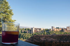 Drink in front of the Alhambra palace Royalty Free Stock Photo