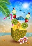 Drink fruits in pineapple Stock Image