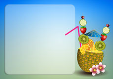 Drink fruits in pineapple Royalty Free Stock Photography