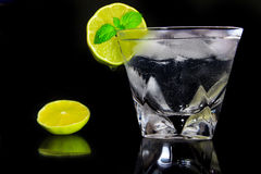 Drink of gin and tonic. A drink with a ice, a lime and a spearmint Stock Image