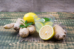 Drink about ginger and lemon juice Royalty Free Stock Image