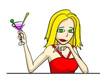 Drink girl. Portrait of woman with glass martini Stock Image