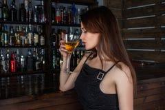 Drink, Girl, Bar, Black Hair Royalty Free Stock Images