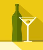 The drink in the glass, bottle, colour illustrations. Stock Photos