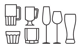 Drink glass icon set Royalty Free Stock Images
