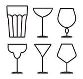 Drink glass icon set Stock Photos