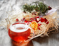 Glass pot of herbal tea Stock Images