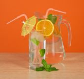 The drink glass with a straw Stock Photos